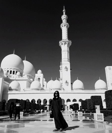Mosque Grandmosque Abudhabi Abaya Lady Blackandwhite Blackandwhite Photography Place Of Worship Islam Grand Infrastructure Lost In The Landscape Black And White Friday Moving Around Rome