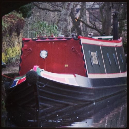 Canal barge at Uppermill Barge Uppermill