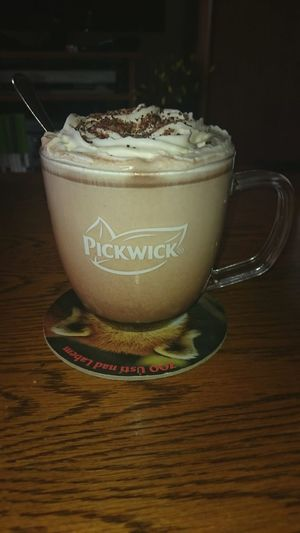 Warm Cold Weather Hot Chocolate Mug Glass Pickwick Delicious Sweet Yummy Good Morning