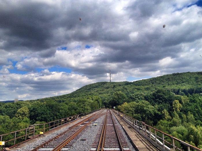 Railroad tracks amidst trees by mountain against cloudy sky