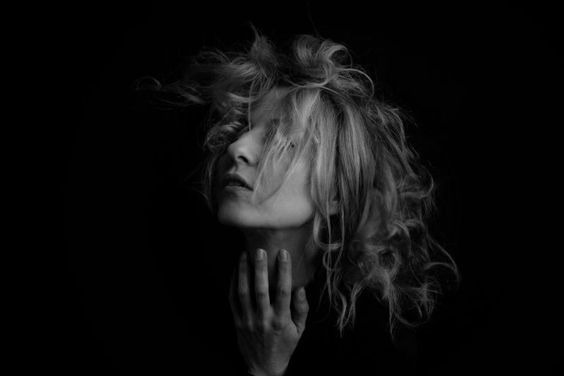 Poetry Blackandwhite Blackandwhite Photography Studio Shot Black Background Women Portrait Hairstyle One Person Indoors  Beautiful Woman Beauty Fashion Glamour Human Face Beautiful People Human Body Part