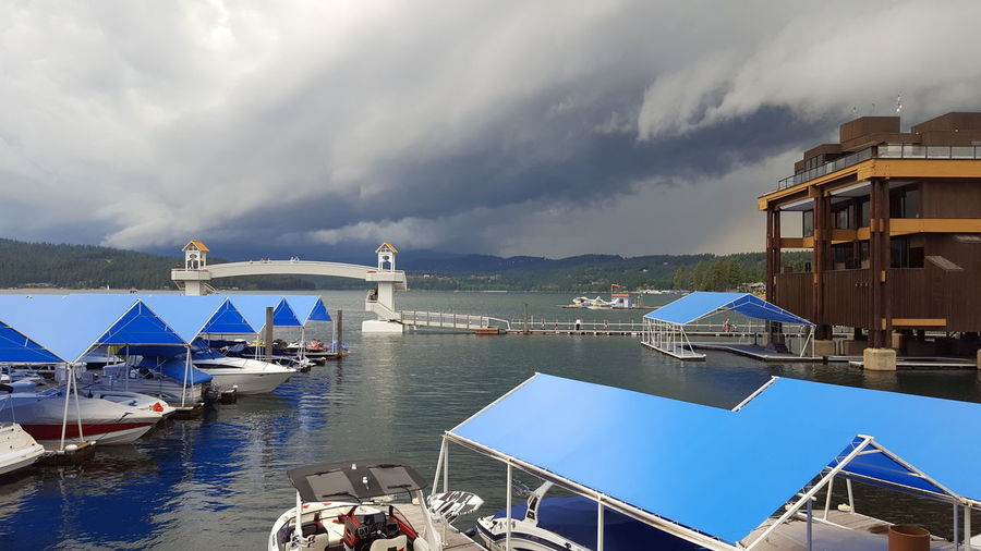 Hidden Gems  Sunandrain CoolWeather Coeur D'Alene Resort Dockside Afternoon Sun Afternoon Rain Check This Out North Idaho this is what happens when half the sky is covered in clouds and the other half is sunny