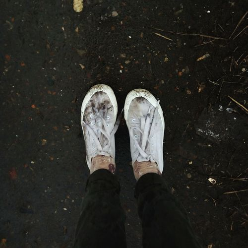 Sneakers Pain Mud Dirty Sadness Rain Low Section Standing Human Leg Shoe High Angle View Canvas Shoe Directly Above Human Foot Close-up Sandal Flip-flop Unhygienic Pair Human Feet Sole Of Shoe Tramp Soil
