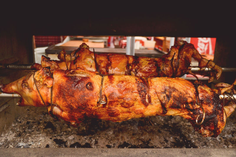 Close-up of pig over barbecue grill