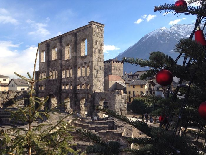Christmas in Aosta Sky Architecture Mountain Built Structure Building Exterior Day Outdoors No People Tree Nature Perspectives On Nature EyeEmNewHere Aosta Valle D'aosta Teatro Romano Di Aosta