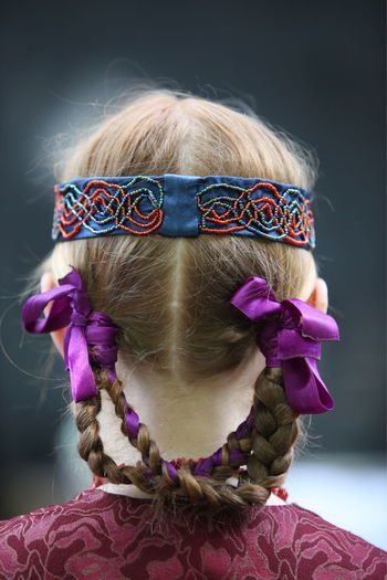 Close-up of girl braided hair