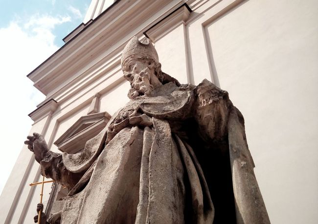 Perspective Detail Holy Holysite Statue Church Brno Czech Republic Sunlight Atmosphere