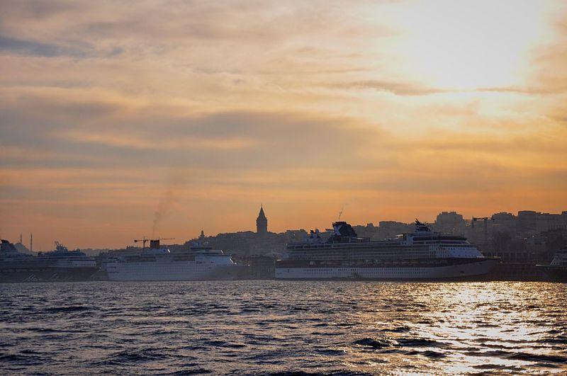 Istanbul City Cityscapes View Enjoying The View Sea Sun Beautiful Sunset Ship