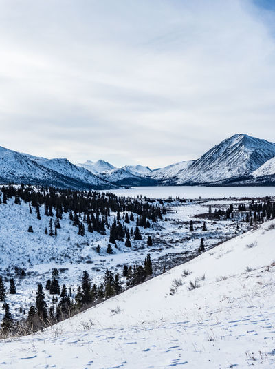 Landscape_Collection Tranquility Beauty In Nature Canada Cold Temperature Day Frozen Landscape Landscape_photography Landscapes Mountain Mountain Range Nature No People Outdoors Scenics Sky Snow Snowcapped Mountain Tranquil Scene Tranquility White Color Winter Winter Wonderland Yukon Territory