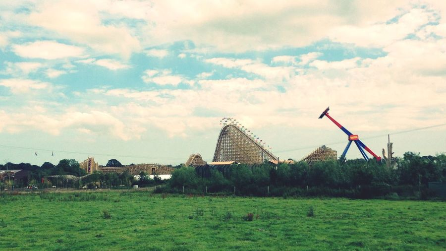 Zip liners, wooden roller coaster, and the rotator. Roller Coaster Zipline Themepark Tayto Park