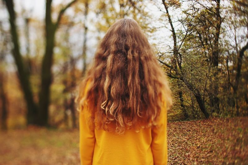 Feeling the autumn vibes. Nature_collection Autumn Collection Autumn Leaves Hair Hairstyle One Person Real People Lifestyles Rear View Tree Long Hair Waist Up Leisure Activity Plant Land Brown Hair Focus On Foreground Standing Day Nature Women Outdoors