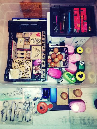 cleaned up my stamps and scrapbooking stuff Stamps Puncher Bulletjournal Scrapbook Scrapbooking Organized Variation Directly Above Large Group Of Objects Choice No People Indoors  Multi Colored