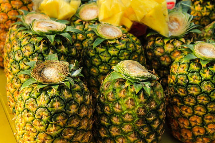 Pineapples Fruit No People High Angle View Food Close-up Nature Outdoors Freshness Healthy Eating Day Backgrounds Beauty In Nature Tropical Fruit Raw Vegan Fruitarian Tropical Climate Summer Seasonal Fruits Lifestyle Textures And Surfaces Textured  Street Photography Street Food