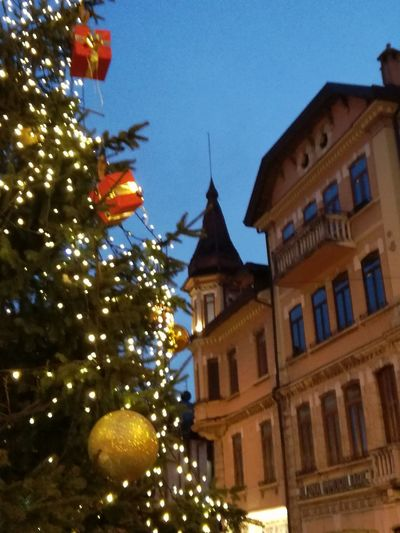 Low angle view of illuminated christmas tree by building against sky