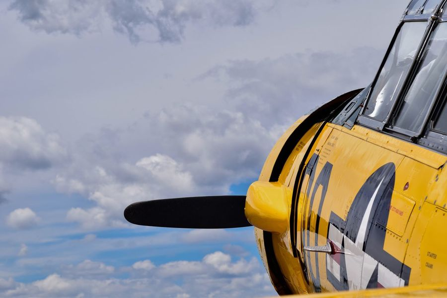 Close-up Cloud - Sky Day Mode Of Transport No People Outdoors Sky Transportation Ww2warbirds Yellow