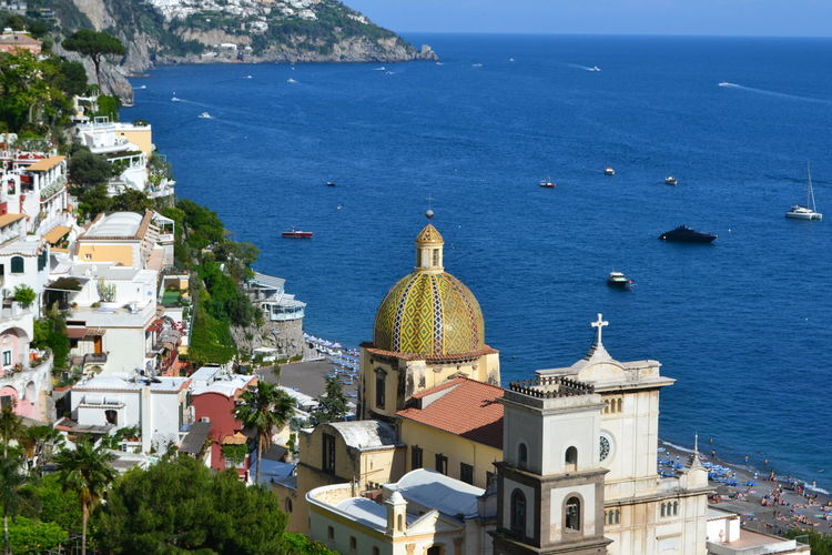 Building Exterior Architecture Sea Water Built Structure Building Place Of Worship Religion Spirituality Belief High Angle View City Nature Dome Day Horizon Over Water No People Outdoors Positive Vibes Positano Amalfi Coast Scenics Views Travel Destinations