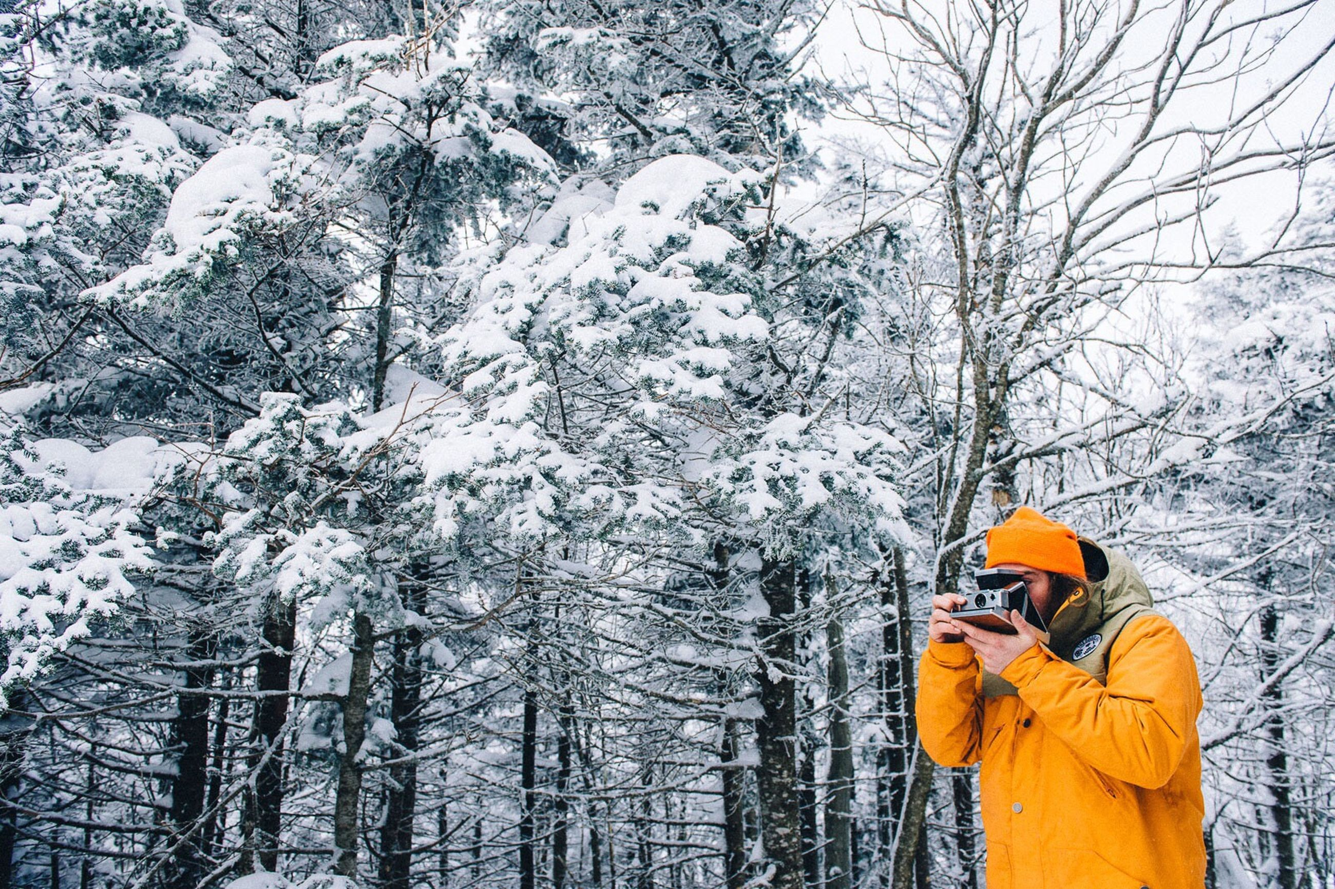 winter, cold temperature, tree, snow, manual worker, men, one person, headwear, industry, adults only, warm clothing, nature, one man only, occupation, only men, working, people, adult, snowing, protective workwear, engineer, outdoors, hardhat, day