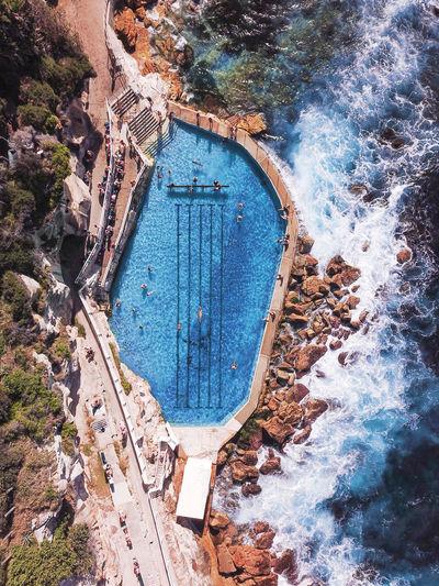 Aerial view of the bronte baths, ocean swimming pool in sydney, australia.