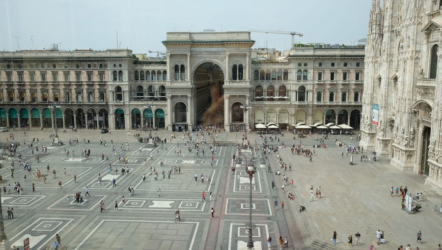 High Angle View Of Galleria Vittorio Emanuele In City Against Clear Sky