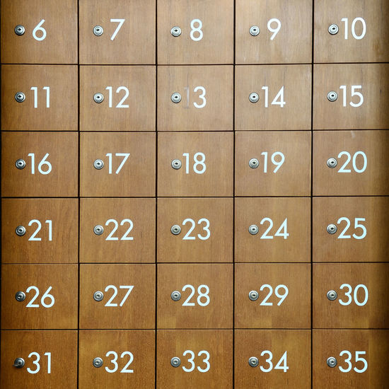 Full frame shot of lockers with numbers