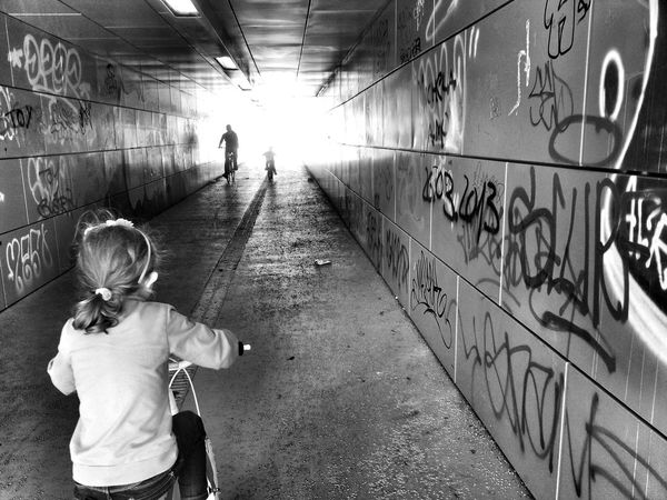 Grow up Child Child On Bicycle Day Grow Up Leisure Activity Lifestyles People Real People Tunnel