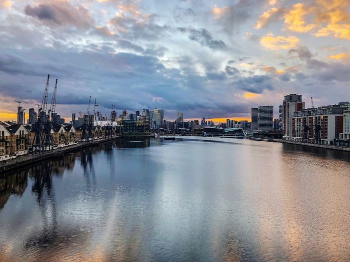 Home is where the heart is❤️ Docklands London Building Exterior Built Structure City Building Reflection No People Sunset Cityscape Waterfront Nature Bridge Outdoors