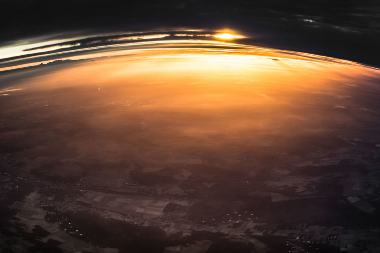 Aerial view of sky during sunset