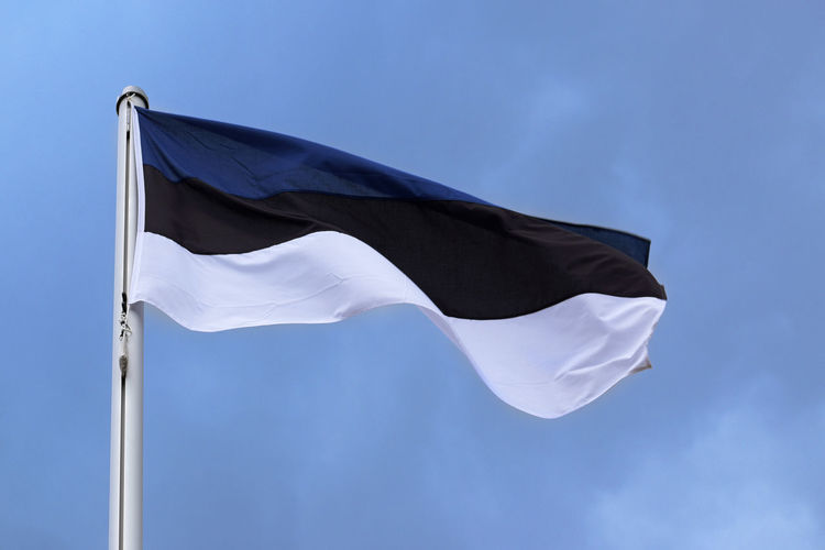 Flag of Estonia with stripes in blue, black and white, national symbol or sign of the country, fluttering in the wind against the blue sky with clouds on a sunny day Country Estonia National Patriotism Sign Stripes Travel Waving Black Blue Day Fabric Flag Flag Pole Fluttering Mast National Icon Outdoors Patriotism Pole Sky Symbol Textile White Wind