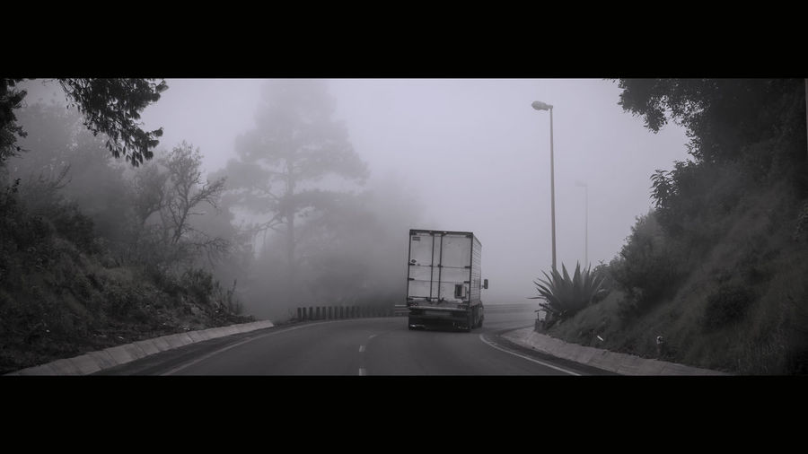 Traveling Black&white Black&white Photography Cloud Clouds And Sky Cloudy Mexico Mist Misty Mode Of Transport Monochrome Nature Outdoors Road Roadtrip Transportation Travel Tree Weather