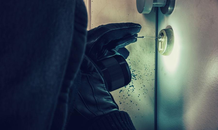 Burglar Picking Lock at Night Theft Open Breaking Crime Alarm Burglar Burglary Criminal Door Flashlight Housebreaker Human Hand Intruder  Justice Key Law Lock Lock Barrel Lock Picking Mask Men Robber Robbery Safety Time