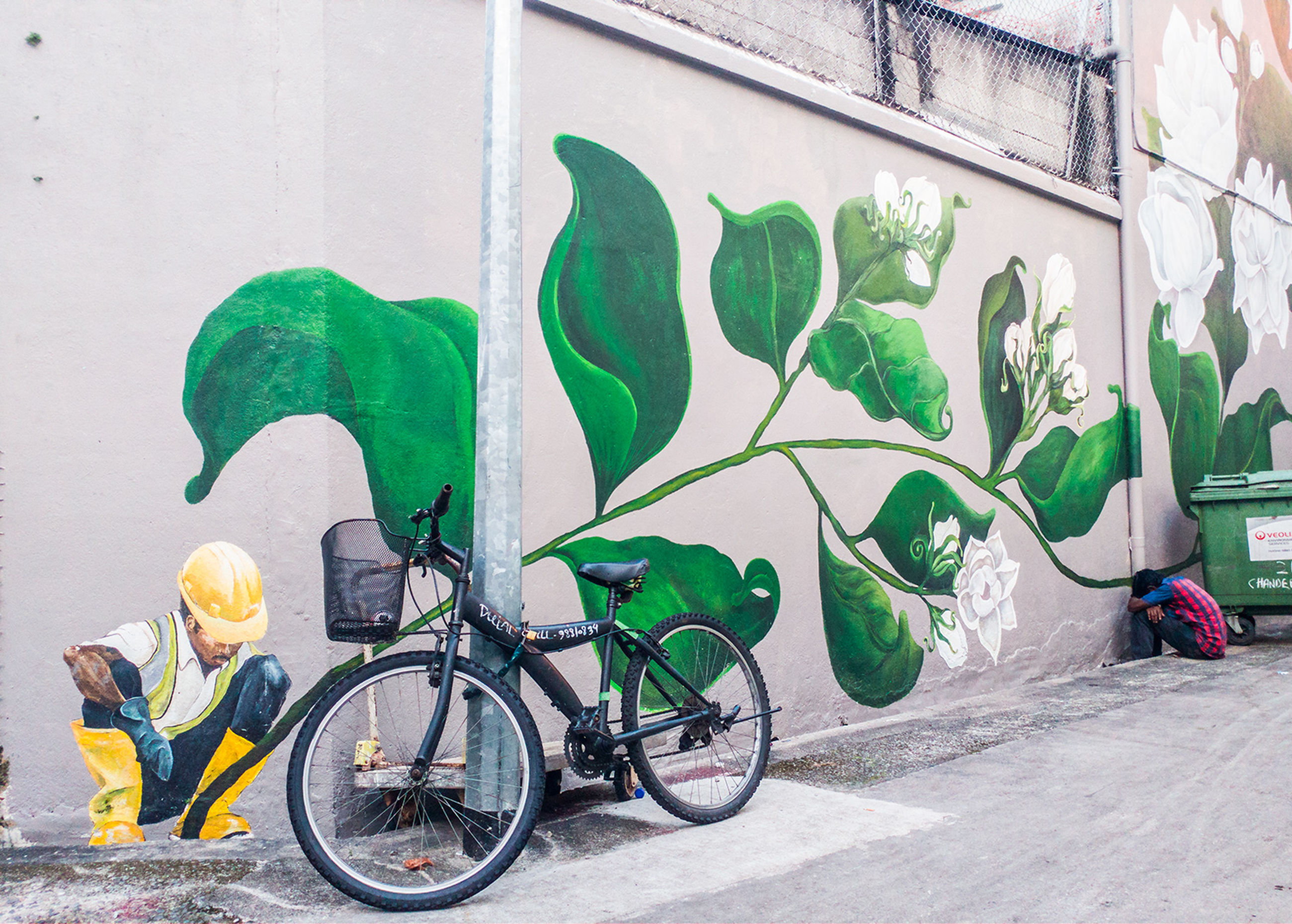 bicycle, wall - building feature, built structure, building exterior, architecture, outdoors, mode of transport, day, headwear, transportation, green color, land vehicle, helmet, stationary, no people