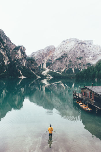 High Angle View Of Distant Person At Braies Lake