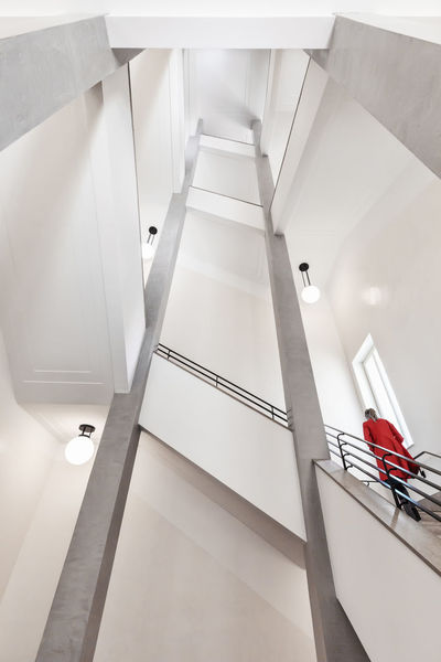 Lady Lines Red Architecture Built Structure Colour Colourkey Day Geometry Indoors  Lady In Red Looking Up Low Angle View No People Railing Staircase Steps Steps And Staircases Symmetry Urban