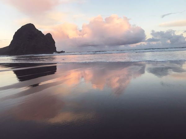 When the clouds create a painting in the sand ☁️ Reflection Beach Blacksand Nature
