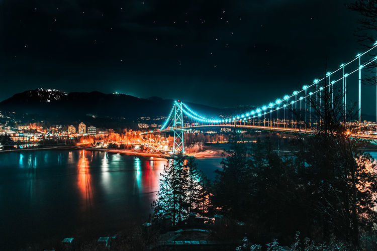 City Illuminated Suspension Bridge Mountain Bridge - Man Made Structure Cityscape Water Sky Architecture