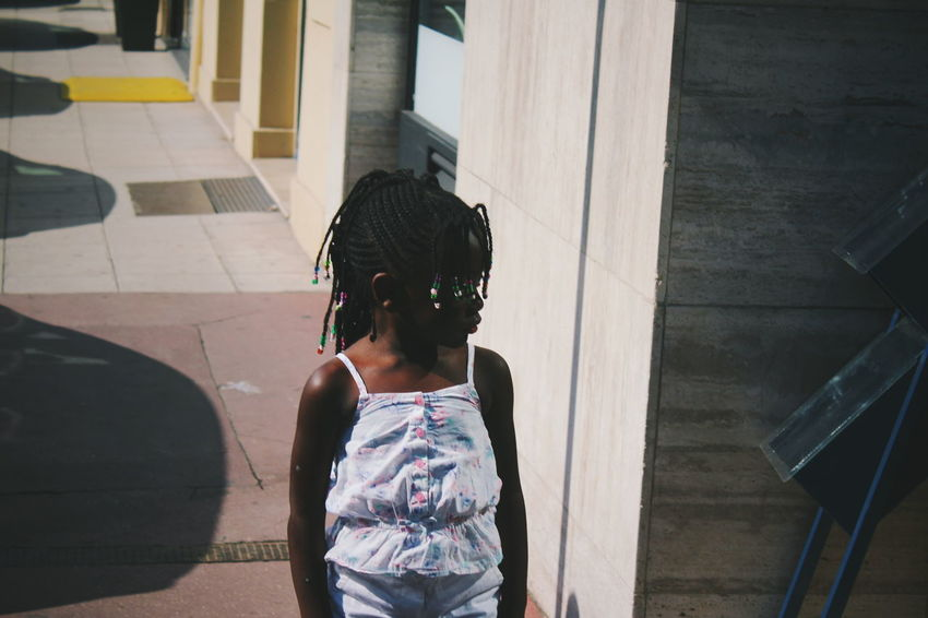 Photos from summer ** braids Nice Hair Hairstyle City Child Childhood Girls Fashion Rear View Building Sidewalk Posing Casual