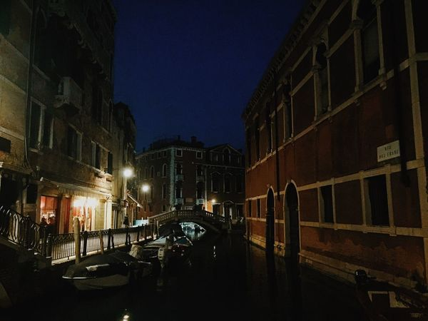 Venice By Night Nightphotography Streetphotography Night Lights Water Reflections Gondole In Venice Cityscapes Venice Canals Sky At Night From Vienna To Milan