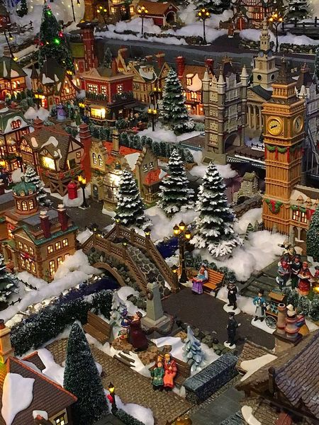 Looking down into the streets of a Snow Village Christmas Christmas Decoration Celebration Tradition Holiday - Event No People Winter Illuminated Indoors  Snow Village Elaborate Architectural Detail Detailed To Perfection Big Ben Beautiful Love Arts Culture And Entertainment Impressive Things I See Vision Is Seeing Beyond What's In Front Of You Special Built Structure Fun Holiday Decorations