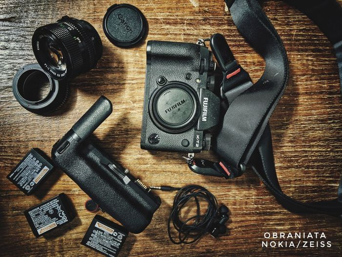 Vintage FUJIFILM X-T2 Nokia 7 Plus Table Variation High Angle View Directly Above Still Life Close-up