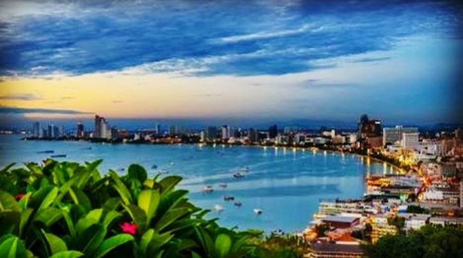 pattaya City Cityscape Urban Skyline Water Sea Skyscraper Blue Panoramic Sky Architecture