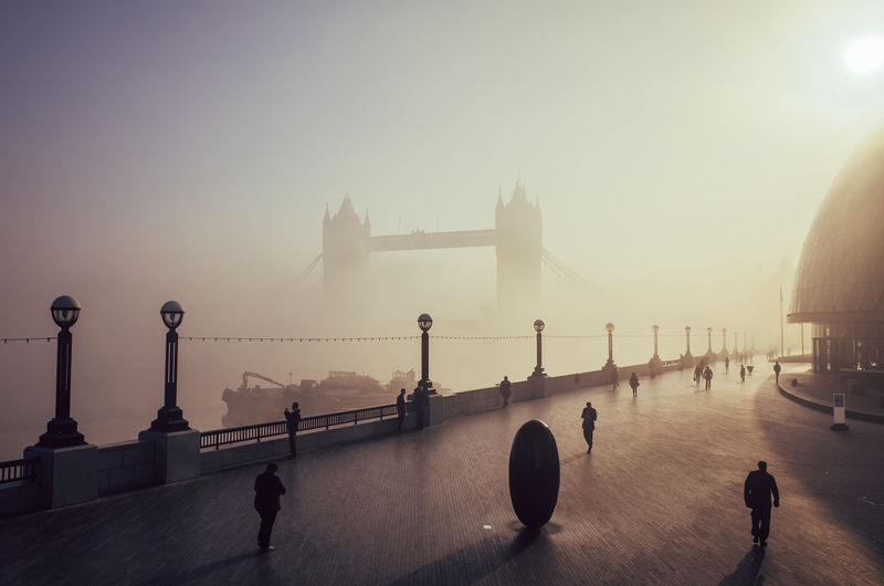Scenic View Of Tower Bridge And Walkway In The Morning