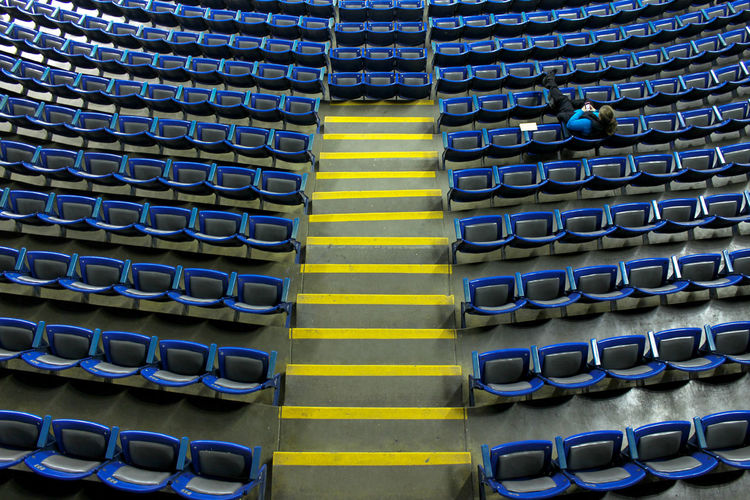 Alone Colors Composition Perspective Architecture Backgrounds Day Full Frame In A Row Indoors  Large Group Of Objects Multi Colored Pattern Stadium Yellow EyeEm Ready