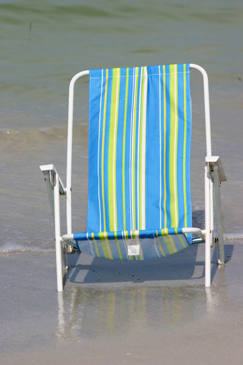 Blue Chair Close-up Gulf Of Mexico Madeira Beach Florida Multi Colored Ocean View Outdoors Saint Petersburg Florida St Petersburg Tampa Bay