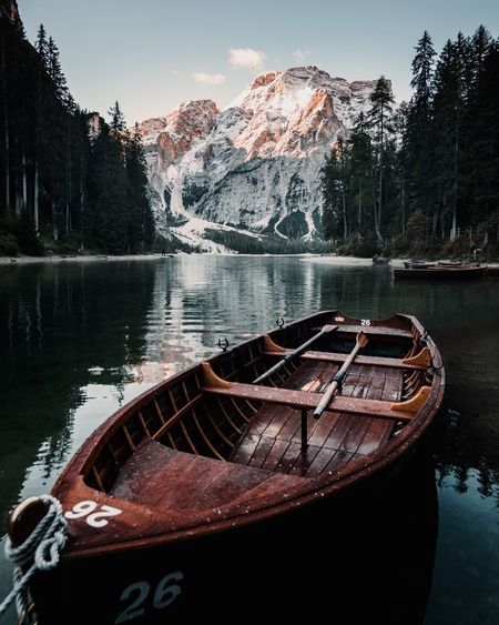 Famous Lago di Braies, from an other angle. Sadly the boat ride was closed down that day. Dolomites, Italy Dolomites Lago Di Braies Stay Out Water Nautical Vessel Mountain Snow Lake Tree Winter Sky Snowcapped Mountain Boat Water Vehicle The Great Outdoors - 2019 EyeEm Awards
