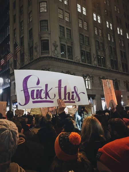 Women's March, NYC Crowd Large Group Of People Protest Building Exterior Outdoors Night City Women Text People Womensmarch Womensmarchnyc NYC