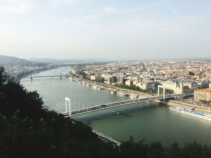 High angle view of elisabeth bridge over danube river in city