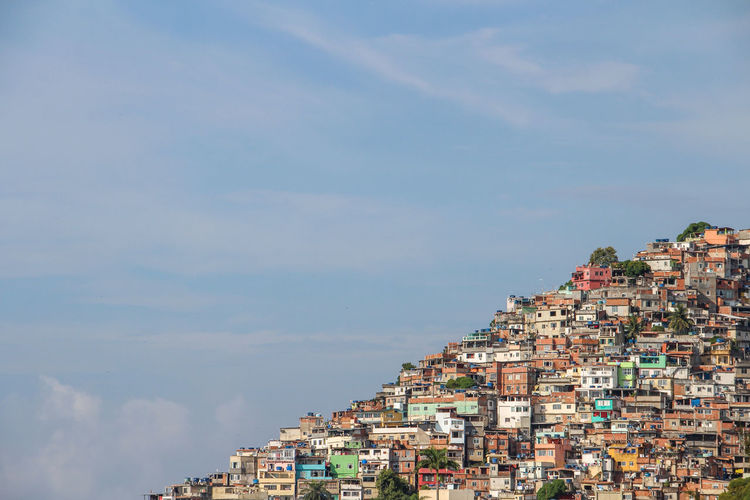 Community Favela Houses Vidigal Rio De Janeiro Brazil Settlement Morro Crowded Day