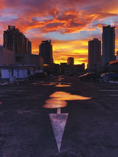 Parking in the afternoon Parking Sunset Afternoon Philippines Orange Building Exterior Cloud - Sky Street Nature Landscape City Life Road Cityscape No People