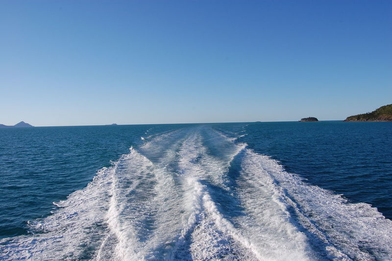 Heading back to the mainland after a day at the great barrier reef. Queensland. Australia Sea Water Sky Clear Sky Scenics - Nature Blue Beauty In Nature Horizon Over Water Horizon Motion No People Nature Wake Wave Pattern Day Wake - Water Aquatic Sport Tranquil Scene Outdoors Great Barrier Reef Queensland Australia