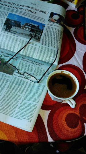Morning Time Pass  Painted Textile Cloth Tablecloth Textile Linnen Newspaper Coffee Cup Glasses Morning No People Communication Indoors  Close-up Day